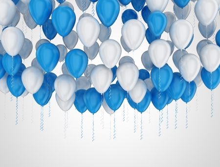 Large group of white and blue party balloons  photo