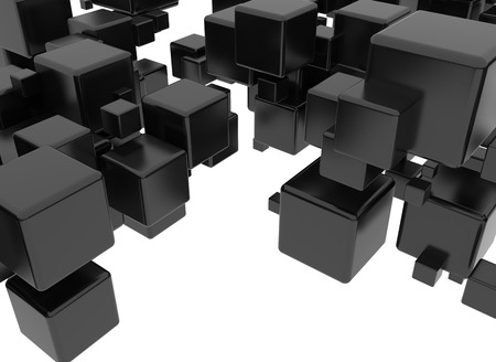 Black 3d cubes isolated on white background photo