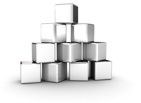 stacked: Stacked silver cubes pyramid shape