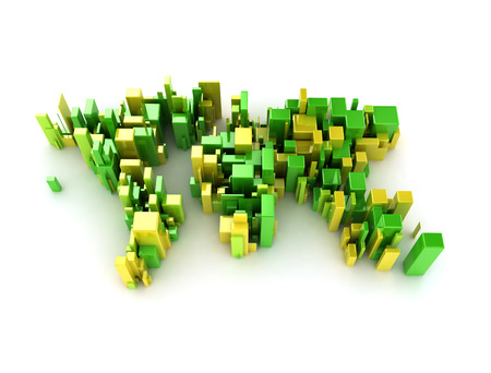 forming: Green and yellow cubes forming a world map