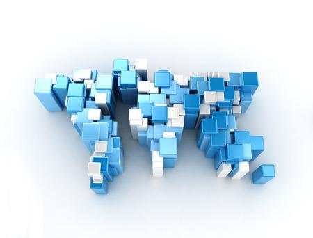 cubic: 3D world map made of metallic cubes