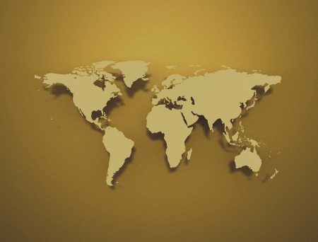 Golden world map  Stock Photo - 24070016