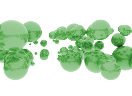 Green spheres abstract 3d illustration  illustration