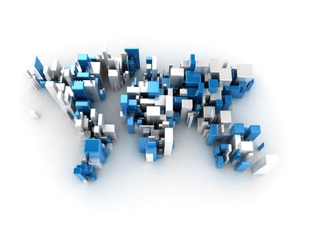 digital world: World map digital cubes Stock Photo