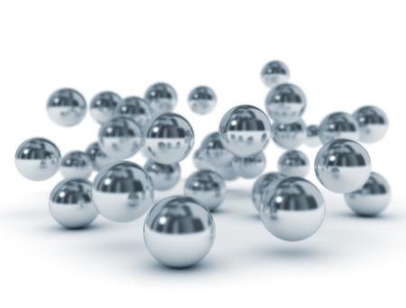 Group of metallic balls on white background