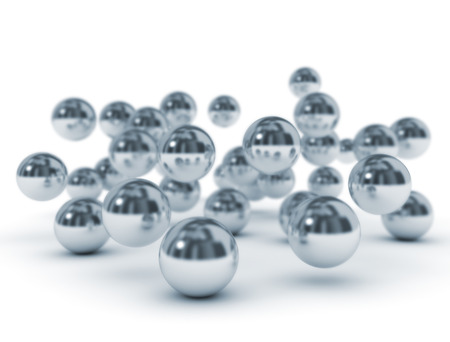 Group of metallic balls on white background