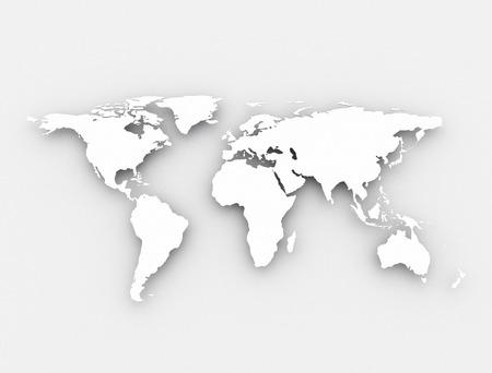cartina del mondo: Bianco mappa del mondo Archivio Fotografico