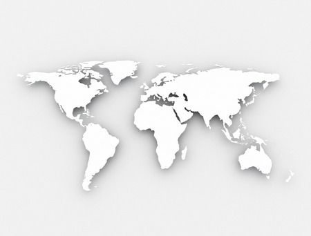 worldwide: White world map  Stock Photo