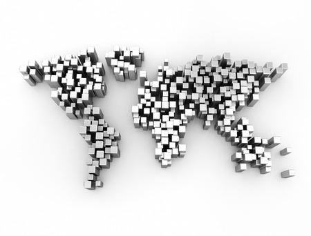 europa: World map made of 3d metallic cubes