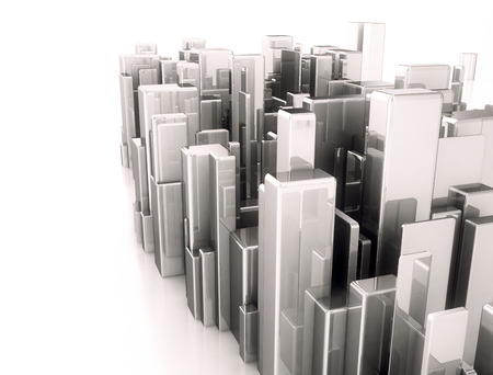 abstract city: Abstract city made of metal cubes