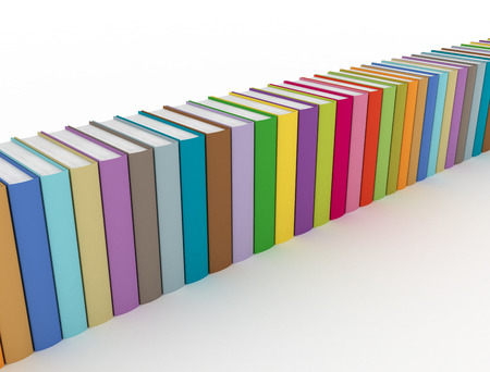 Row of colorful books on white background  Stock Photo - 24015155