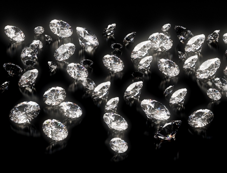 Grote groep van diamanten op zwarte achtergrond