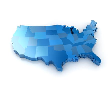 naciones unidas: Mapa 3D de los estados unidos de américa