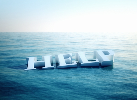 sos: Help conceptual image - Text floating in water
