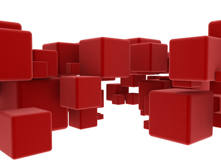 red cube: Abstract 3d cubes