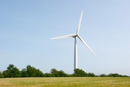 wind power plant: Single wind turbine on blue sky background and cornfield Stock Photo
