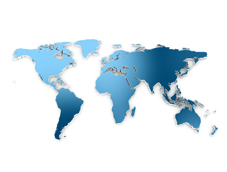 World map blue metal isolated on white  photo