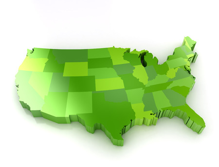 Green 3d map of usa on white background  Shadoe and reflection