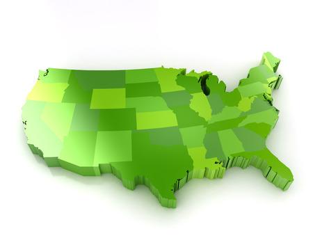 Groene 3d kaart van usa op witte achtergrond Shadoe en reflectie