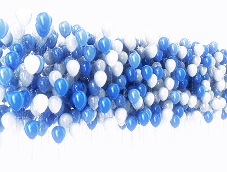 levitation: Blue and white balloons