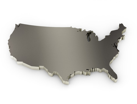 map of usa: united states of america 3d metal map Stock Photo