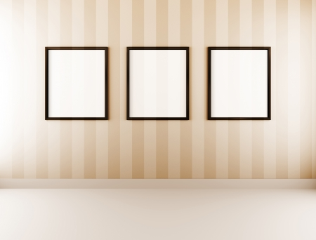 old poster: Picture frames with white copyspace Stock Photo