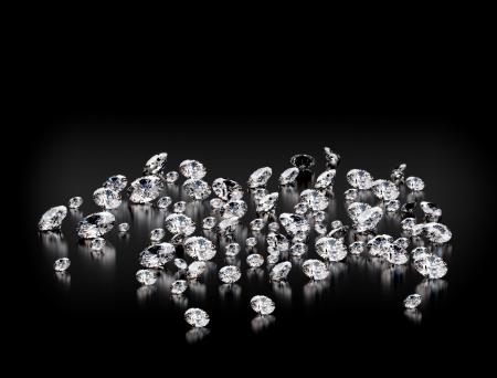 diamante negro: Diamantes en el fondo negro ligero dof