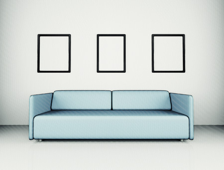 loveseat: White room with sofa and empty background wall