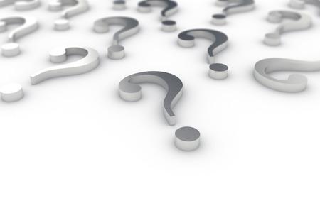 punto di domanda: Folto gruppo di metallico interrogativi su sfondo bianco
