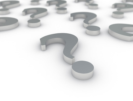 inquiring: metallic question marks on white background Stock Photo