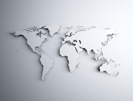 weltweit: Weltkarte 3d Licht und Schatten