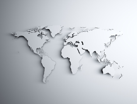 world communication: World map 3d light and shadow