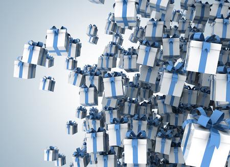 lloviendo: Lloviendo cajas de regalo - regalos de color blanco con cinta azul
