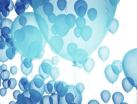 Blue birthday balloons over white background