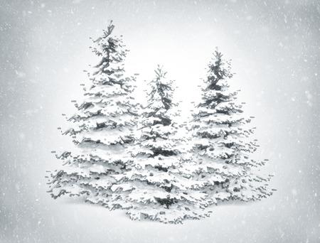 winter scene: Christmas winter scene snow and pine trees