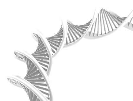 Spiraal DNA geïsoleerd op witte achtergrond close-up