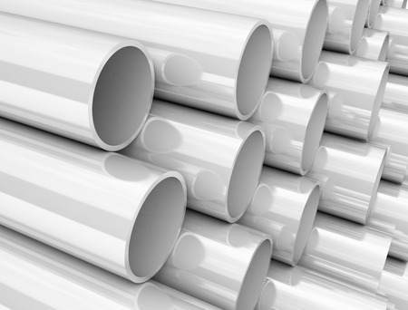 Size of PVC pipes Stock Photo
