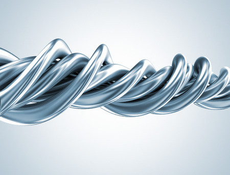 Abstract metal 3d shape twisted tubes  photo