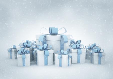 christmas presents: Christmas presents and snow