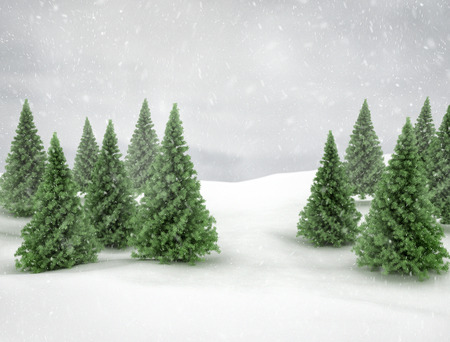 Winter landscape snow and pine trees  photo