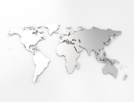 acier: Carte du monde texture argent