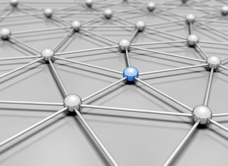 Netwerk 3d illustratie enkele blauwe bol staan uit