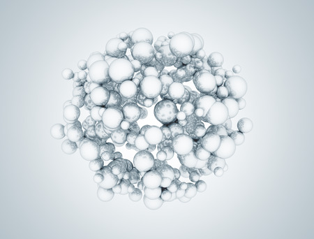 cluster: Cluster of molecules metallic spheres abstract