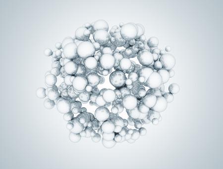 molecula de agua: Racimo de moléculas esferas metálicas abstracta