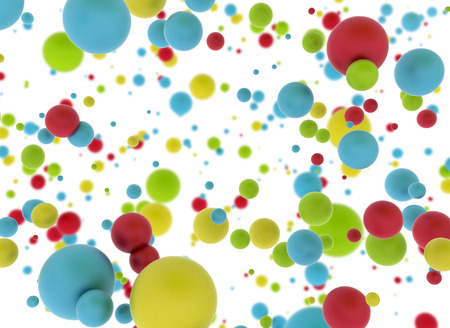 Multi color balls on white background