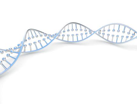 Metal DNA dubbele helix spinale op witte achtergrond Stockfoto