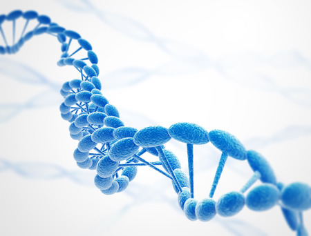 liquid x: Dna strings blue on white background Stock Photo