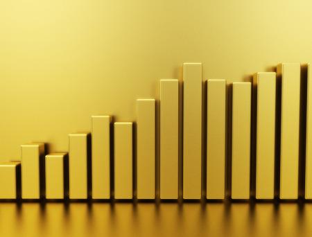 Gold bars stock graph 3d illustration illustration