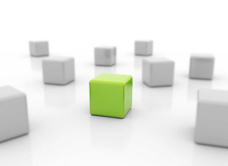 Single green cube standing out - the right choice