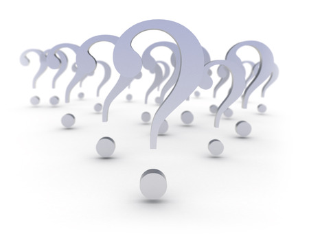 inquiring: Large group of 3d metal textured question marks